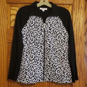 Black & white knit zip up jacket